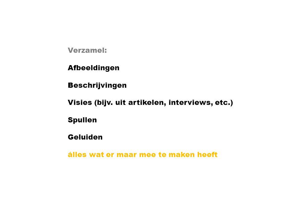Verzamel: Afbeeldingen Beschrijvingen Visies (bijv.