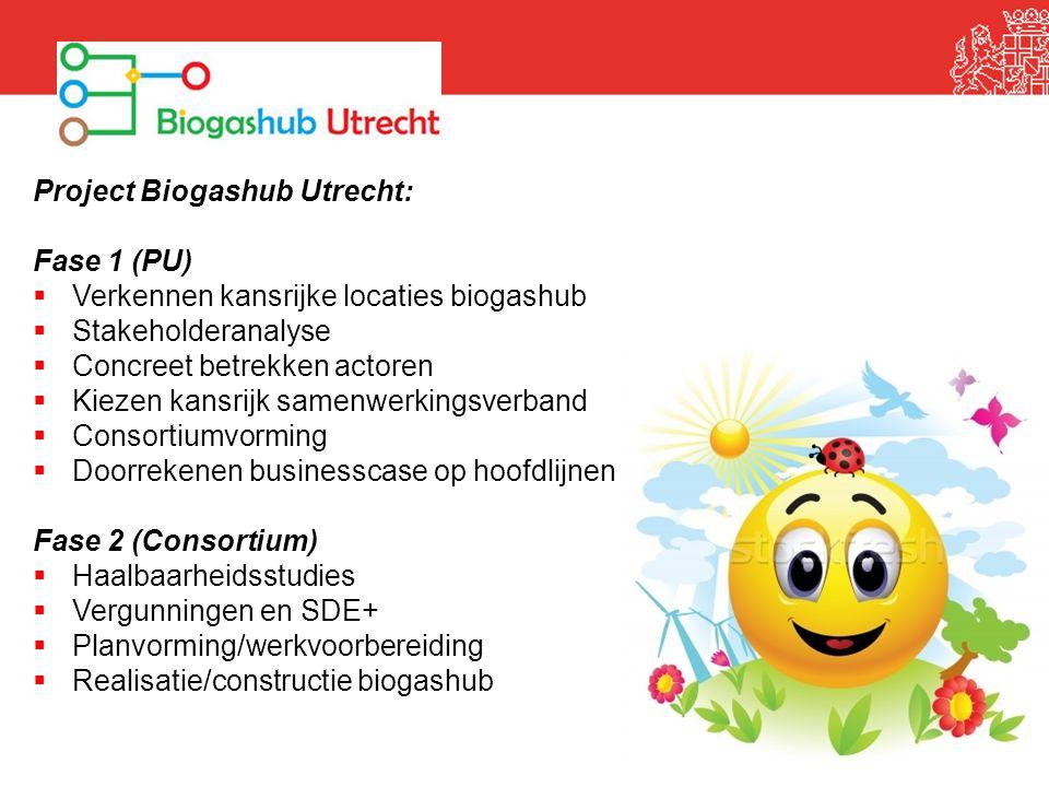 Project Biogashub Utrecht: Fase 1 (PU)  Verkennen kansrijke locaties biogashub  Stakeholderanalyse  Concreet betrekken actoren  Kiezen kansrijk sa