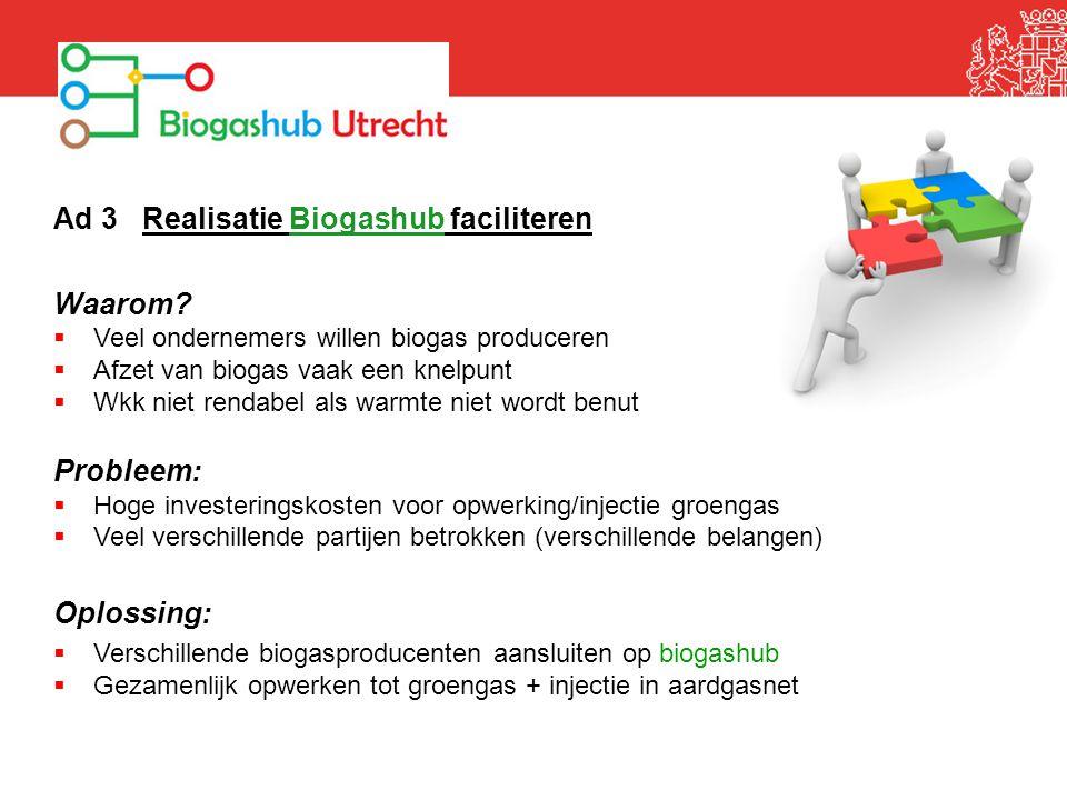 Ad 3 Realisatie Biogashub faciliteren Waarom?  Veel ondernemers willen biogas produceren  Afzet van biogas vaak een knelpunt  Wkk niet rendabel als
