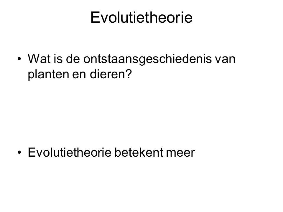 Evolutietheorie Wat is de ontstaansgeschiedenis van planten en dieren.