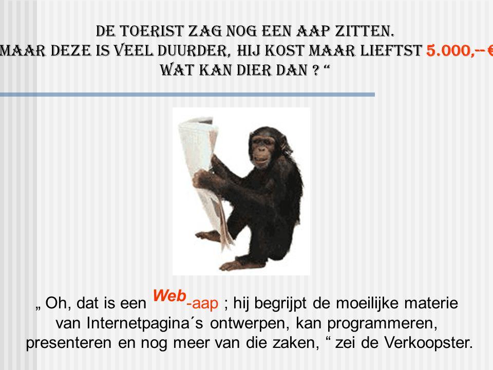 """"""" Oh, dat is een Web -aap ; hij begrijpt de moeilijke materie van Internetpagina´s ontwerpen, kan programmeren, presenteren en nog meer van die zaken, zei de Verkoopster."""