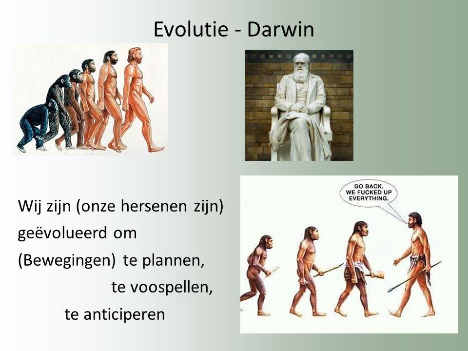 Evolutie - Darwin Wij zijn (onze hersenen zijn) geëvolueerd om (Bewegingen) te plannen, te voospellen, te anticiperen
