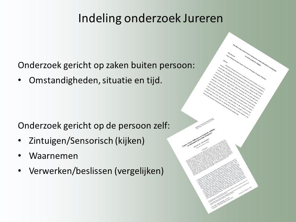 Indeling onderzoek Jureren Onderzoek gericht op zaken buiten persoon: Omstandigheden, situatie en tijd.