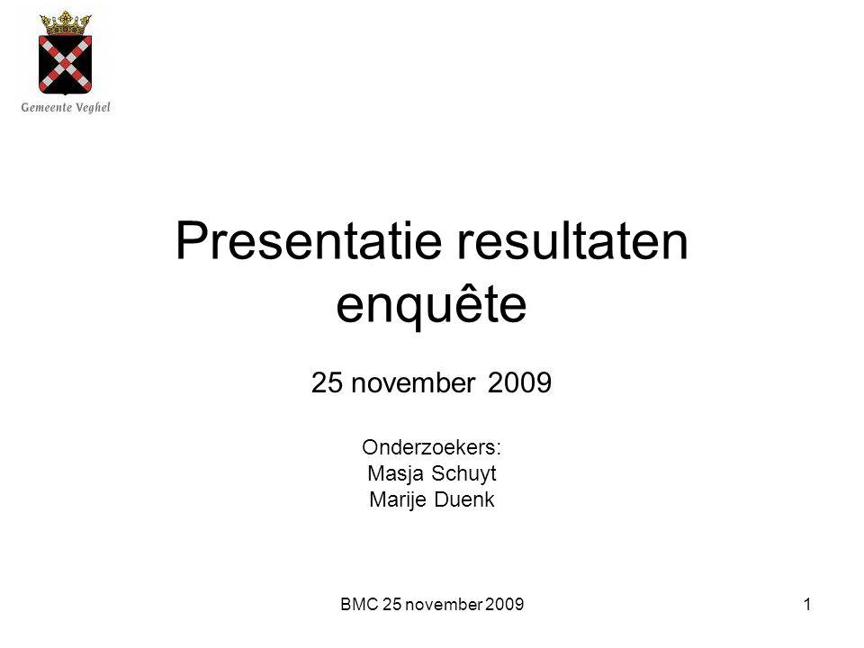 BMC 25 november 20091 Presentatie resultaten enquête 25 november 2009 Onderzoekers: Masja Schuyt Marije Duenk