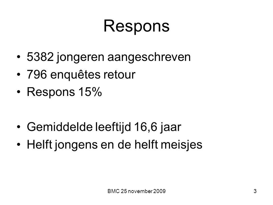 BMC 25 november 20093 Respons 5382 jongeren aangeschreven 796 enquêtes retour Respons 15% Gemiddelde leeftijd 16,6 jaar Helft jongens en de helft meis