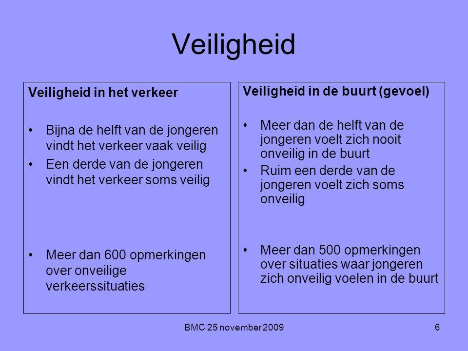 BMC 25 november 20096 Veiligheid Veiligheid in het verkeer Bijna de helft van de jongeren vindt het verkeer vaak veilig Een derde van de jongeren vind