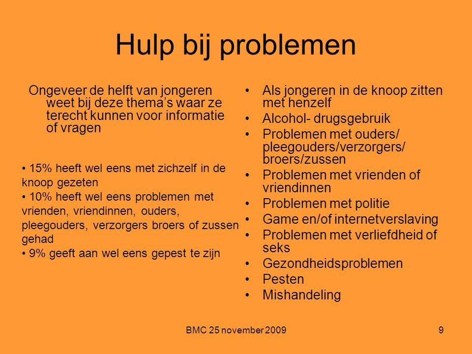 BMC 25 november 20099 Hulp bij problemen Ongeveer de helft van jongeren weet bij deze thema's waar ze terecht kunnen voor informatie of vragen Als jon