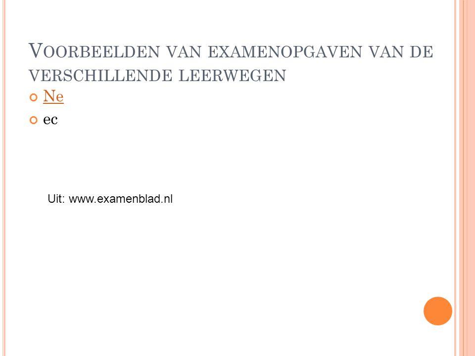 V OORBEELDEN VAN EXAMENOPGAVEN VAN DE VERSCHILLENDE LEERWEGEN Ne ec Uit: www.examenblad.nl
