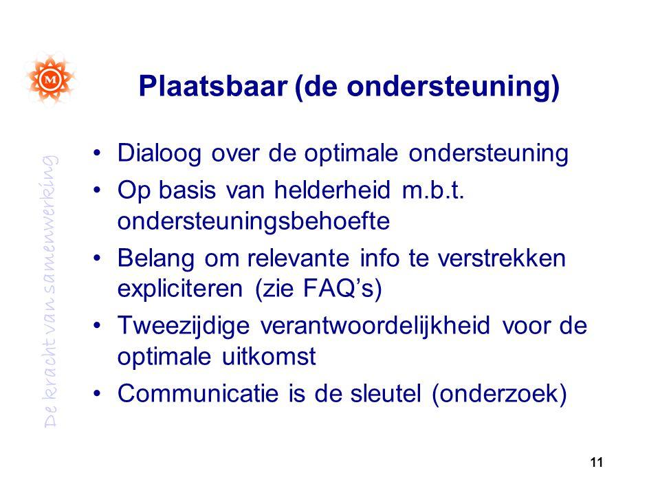 De kracht van samenwerking Plaatsbaar (de ondersteuning) Dialoog over de optimale ondersteuning Op basis van helderheid m.b.t.