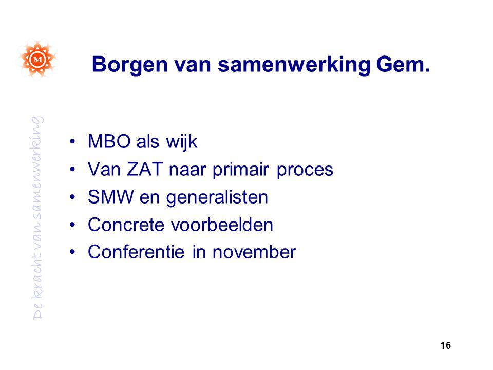 De kracht van samenwerking Borgen van samenwerking Gem.