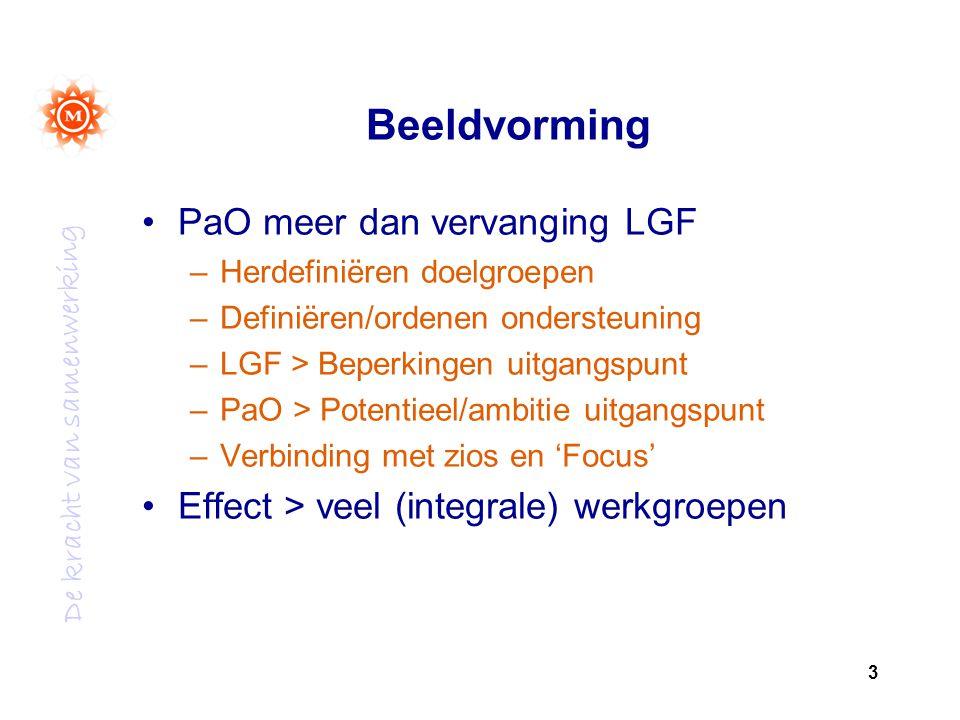 De kracht van samenwerking Beeldvorming PaO meer dan vervanging LGF –Herdefiniëren doelgroepen –Definiëren/ordenen ondersteuning –LGF > Beperkingen uitgangspunt –PaO > Potentieel/ambitie uitgangspunt –Verbinding met zios en 'Focus' Effect > veel (integrale) werkgroepen 3