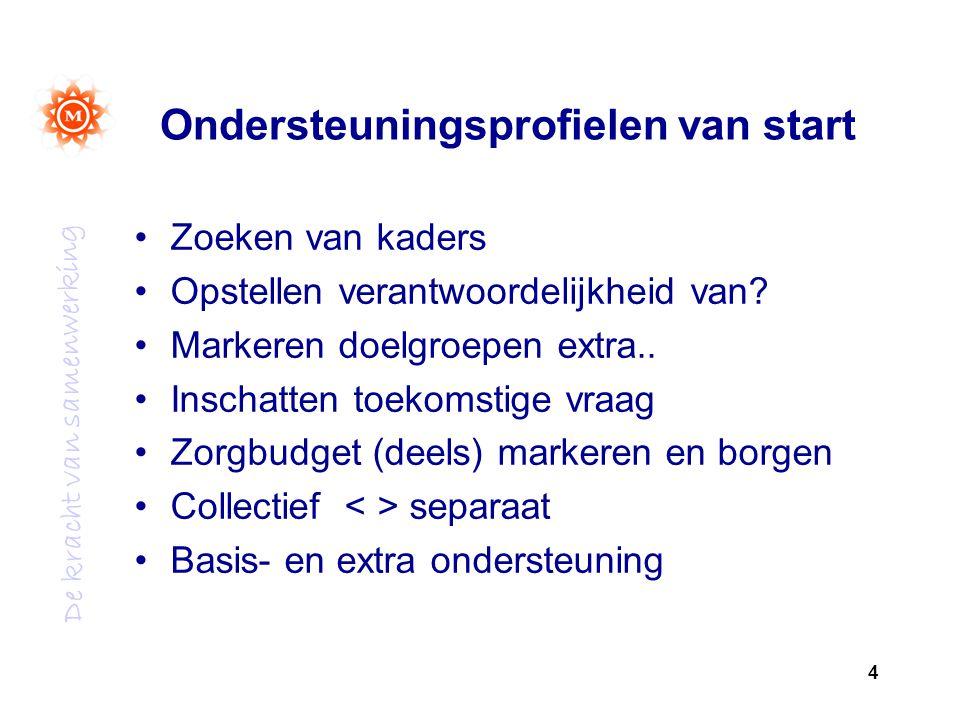 De kracht van samenwerking Ondersteuningsprofielen van start Zoeken van kaders Opstellen verantwoordelijkheid van.