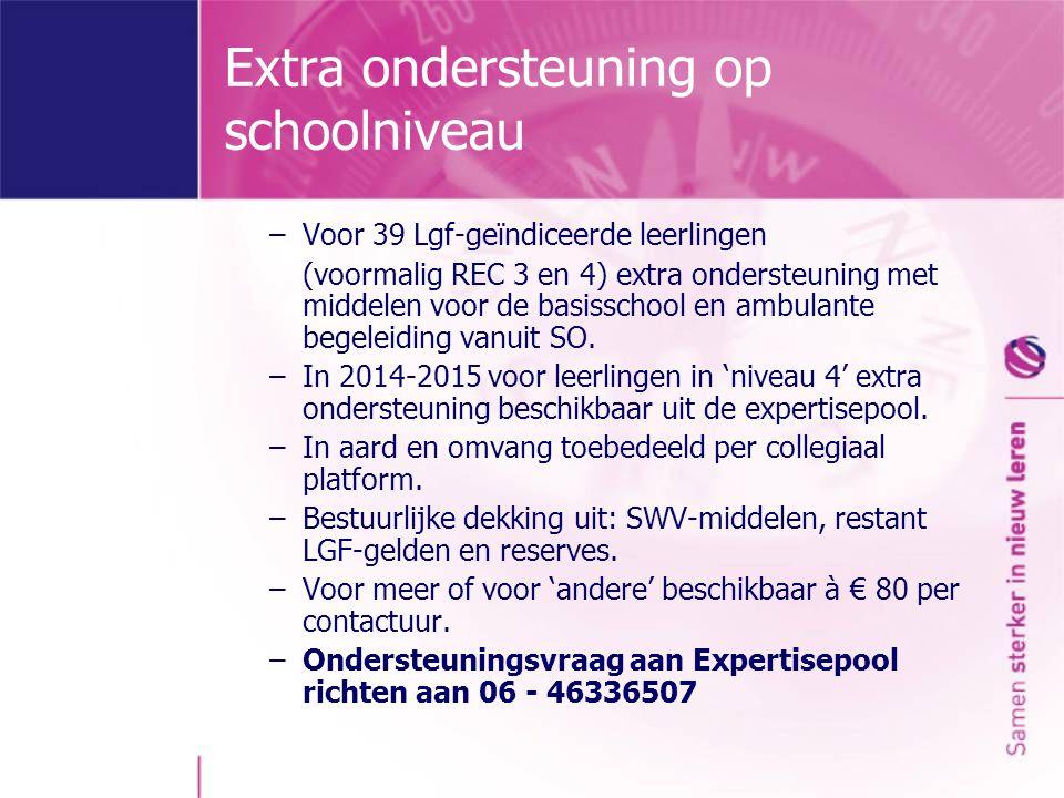 Expertisepool Basis-Extra-Speciaal ondersteuningondersteuningonderwijs (niveau 1-2-3)(niveau 4) (niveau 5) Expertisepool - handelingsgerichte diagnostiek -gedrag, werkhouding, klassenmanagement -taal/rekenen, werkhouding, klassenmanagement -cognitieve beperkingen Aanvullend: -lichamelijke fysieke beperkingen -NT-2 Apart via REC 2: -Ondersteuningsvraag voor kinderen met ernstige spraaktaal- en gehoorbeperkingen via 045 - 563 65 00