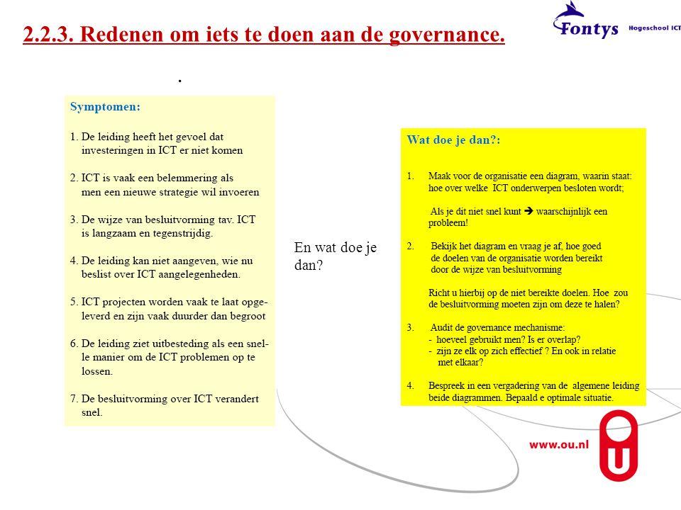 2.2.3. Redenen om iets te doen aan de governance.. En wat doe je dan?