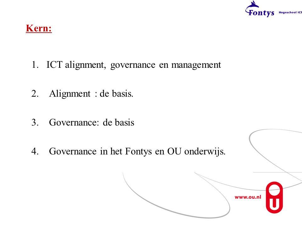 Kern: 1.ICT alignment, governance en management 2. Alignment : de basis. 3. Governance: de basis 4. Governance in het Fontys en OU onderwijs.
