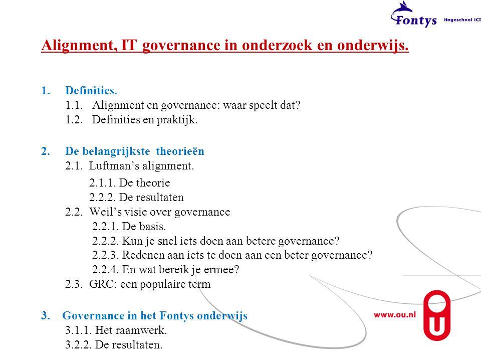 Alignment, IT governance in onderzoek en onderwijs. 1.Definities. 1.1. Alignment en governance: waar speelt dat? 1.2. Definities en praktijk. 2.De bel