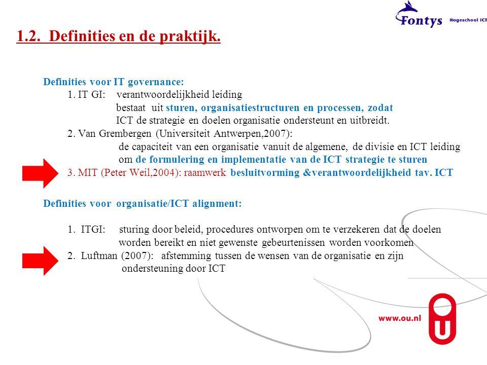 Definities voor IT governance: 1. IT GI: verantwoordelijkheid leiding bestaat uit sturen, organisatiestructuren en processen, zodat ICT de strategie e