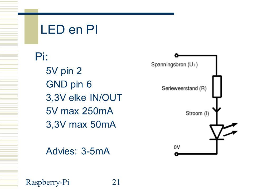 Raspberry-Pi21 LED en PI Pi: 5V pin 2 GND pin 6 3,3V elke IN/OUT 5V max 250mA 3,3V max 50mA Advies: 3-5mA
