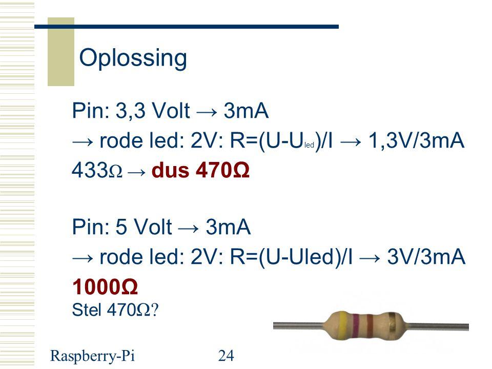 Raspberry-Pi24 Oplossing Pin: 3,3 Volt → 3mA → rode led: 2V: R=(U-U led )/I → 1,3V/3mA 433 Ω → dus 470Ω Pin: 5 Volt → 3mA → rode led: 2V: R=(U-Uled)/I