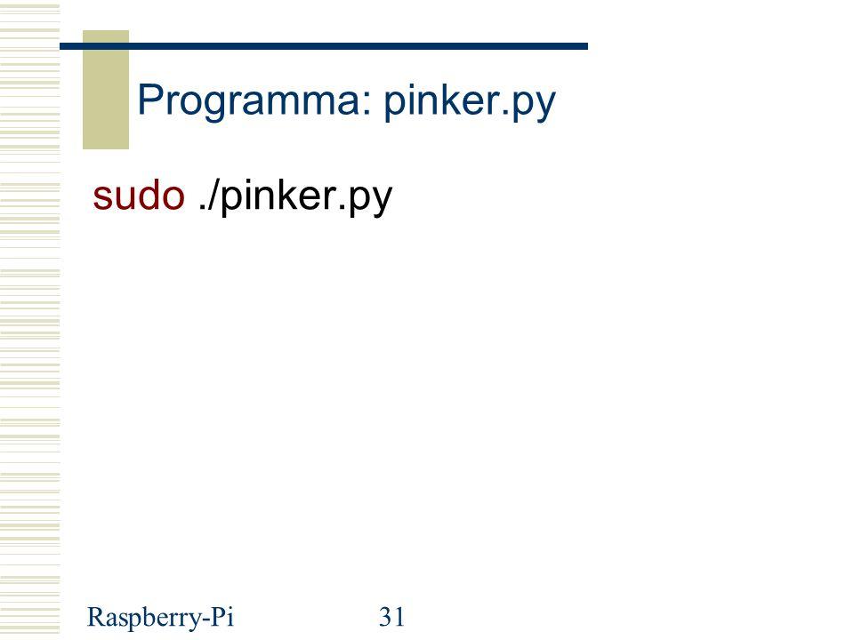 Raspberry-Pi31 Programma: pinker.py sudo./pinker.py