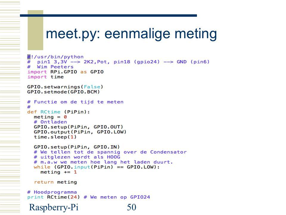 Raspberry-Pi50 meet.py: eenmalige meting