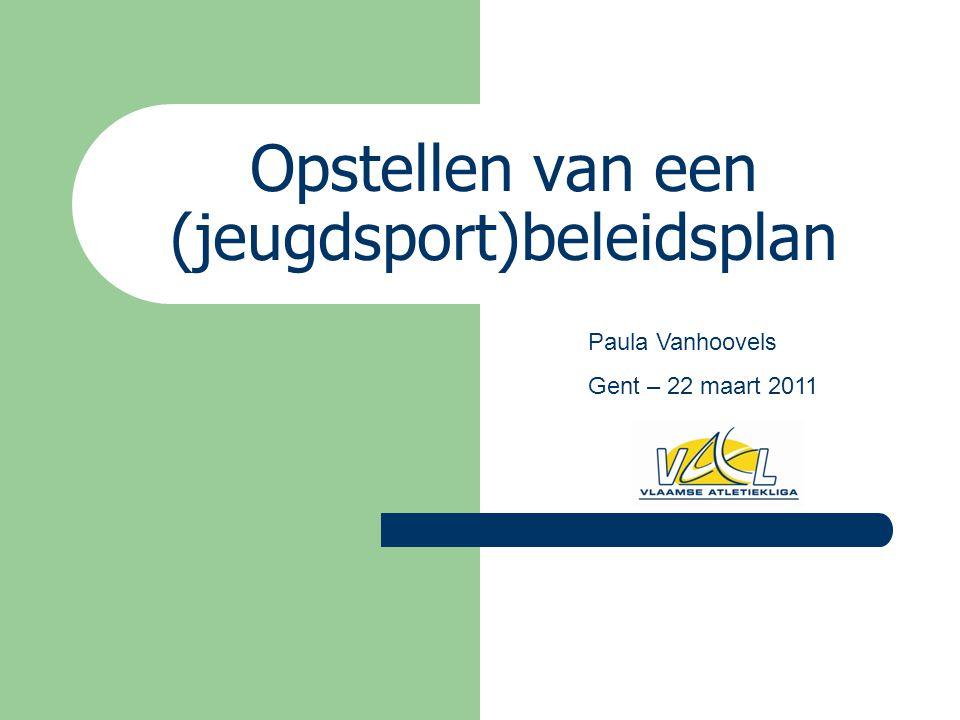 Opstellen van een (jeugdsport)beleidsplan Paula Vanhoovels Gent – 22 maart 2011