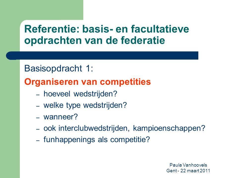 Paula Vanhoovels Gent - 22 maart 2011 Referentie: basis- en facultatieve opdrachten van de federatie Basisopdracht 1: Organiseren van competities – ho