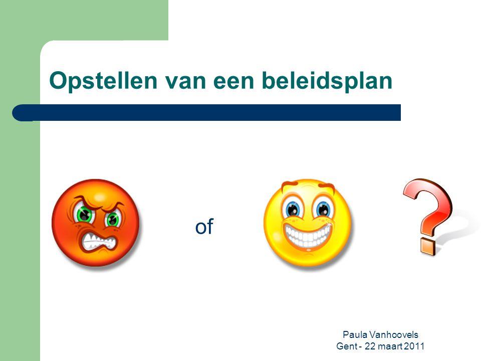 Paula Vanhoovels Gent - 22 maart 2011 Verwerken van gegevens Doel: inzicht krijgen in de huidige situatie = eerlijke zelfevaluatie Middel: SWOT-analyse