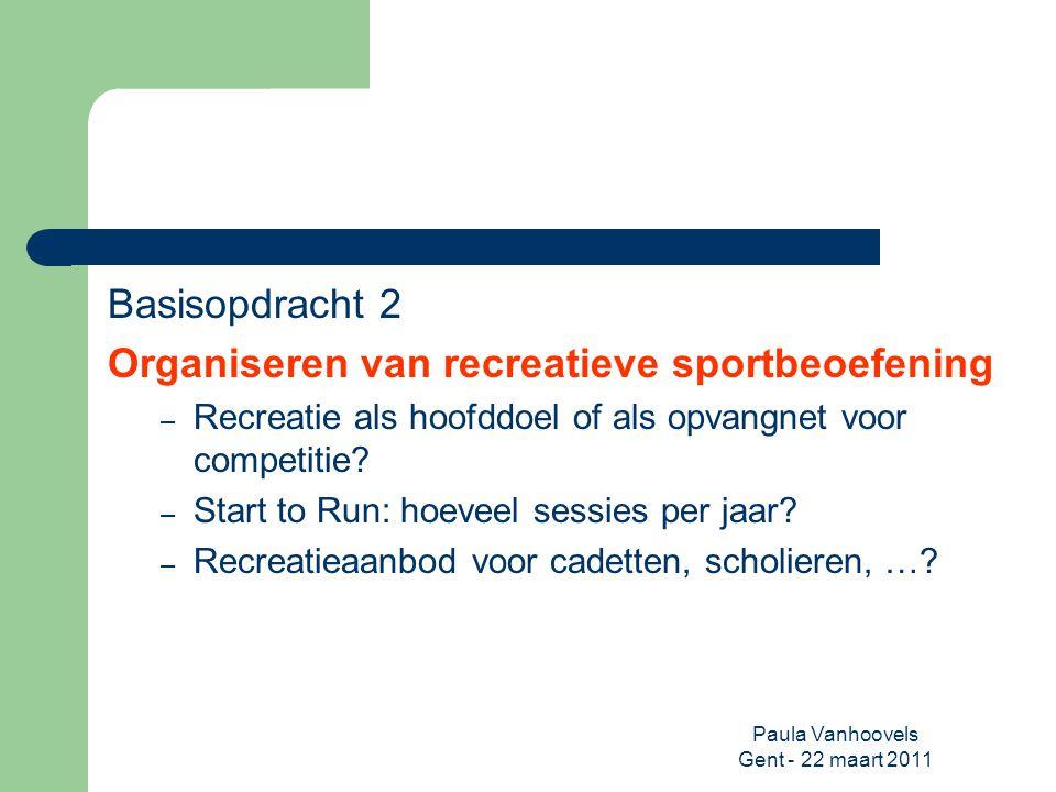 Paula Vanhoovels Gent - 22 maart 2011 Basisopdracht 2 Organiseren van recreatieve sportbeoefening – Recreatie als hoofddoel of als opvangnet voor comp