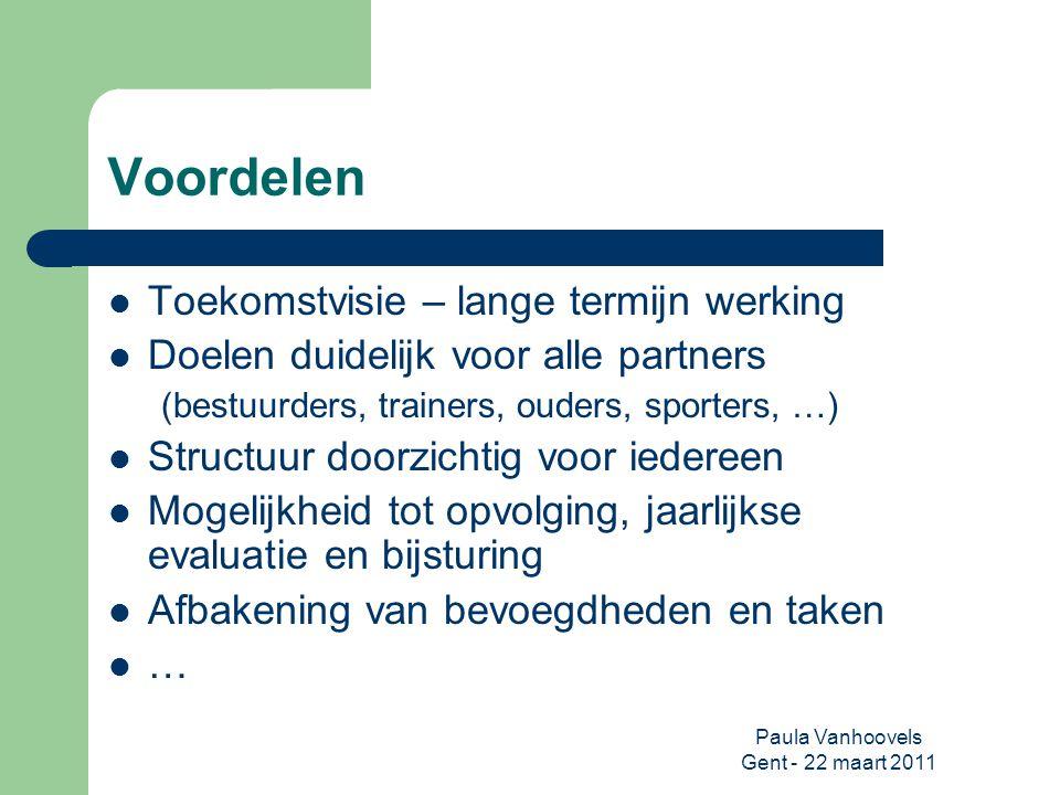 Paula Vanhoovels Gent - 22 maart 2011 Voordelen Toekomstvisie – lange termijn werking Doelen duidelijk voor alle partners (bestuurders, trainers, oude