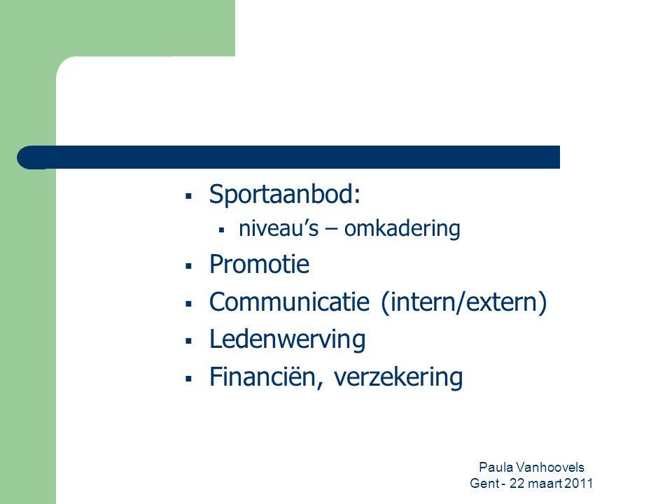Paula Vanhoovels Gent - 22 maart 2011  Sportaanbod:  niveau's – omkadering  Promotie  Communicatie (intern/extern)  Ledenwerving  Financiën, ver