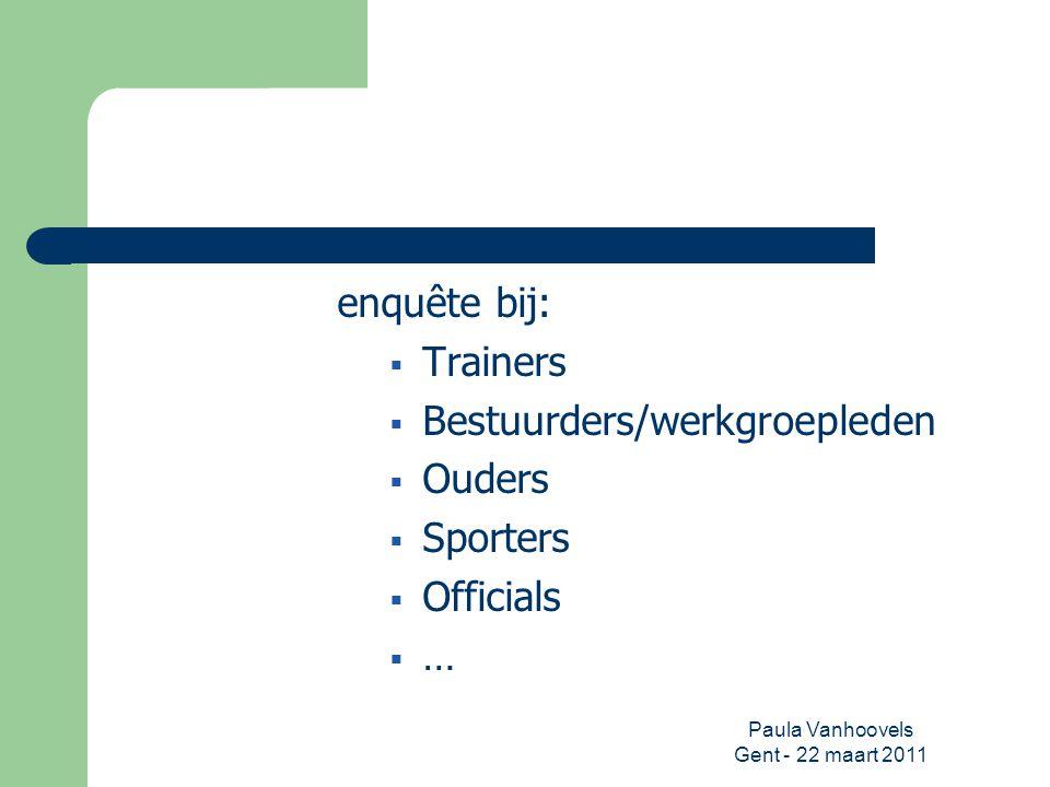 Paula Vanhoovels Gent - 22 maart 2011 enquête bij:  Trainers  Bestuurders/werkgroepleden  Ouders  Sporters  Officials  …