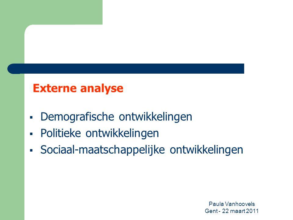 Paula Vanhoovels Gent - 22 maart 2011 Externe analyse  Demografische ontwikkelingen  Politieke ontwikkelingen  Sociaal-maatschappelijke ontwikkelin