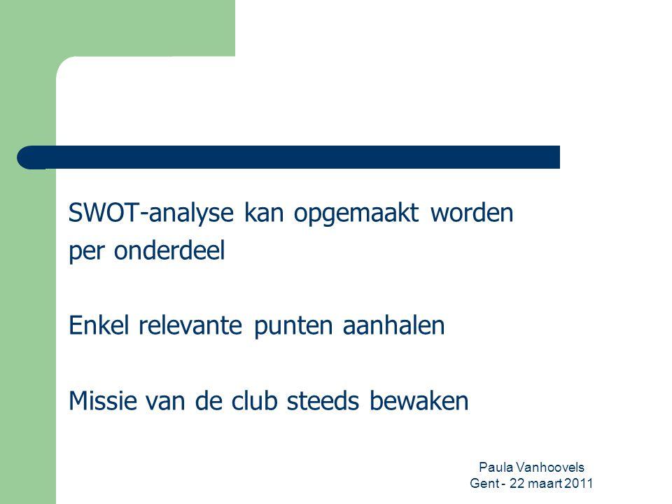 Paula Vanhoovels Gent - 22 maart 2011 SWOT-analyse kan opgemaakt worden per onderdeel Enkel relevante punten aanhalen Missie van de club steeds bewake