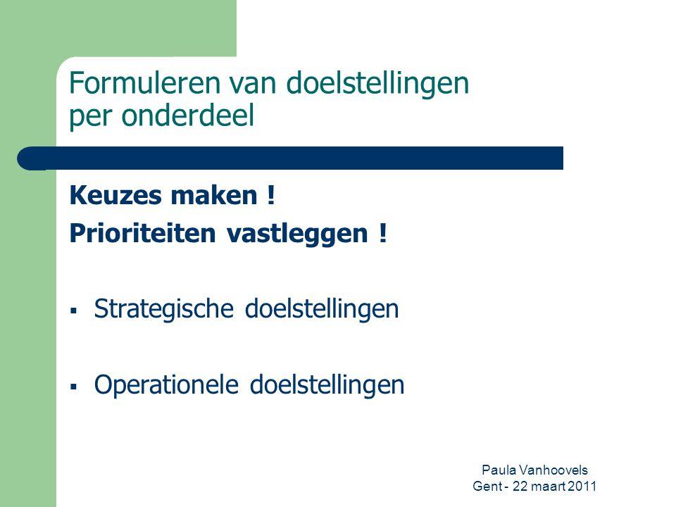 Paula Vanhoovels Gent - 22 maart 2011 Formuleren van doelstellingen per onderdeel Keuzes maken ! Prioriteiten vastleggen !  Strategische doelstelling