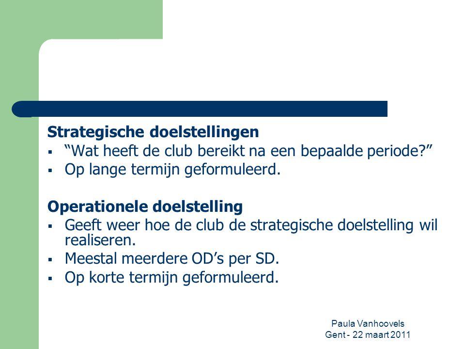 """Paula Vanhoovels Gent - 22 maart 2011 Strategische doelstellingen  """"Wat heeft de club bereikt na een bepaalde periode?""""  Op lange termijn geformulee"""