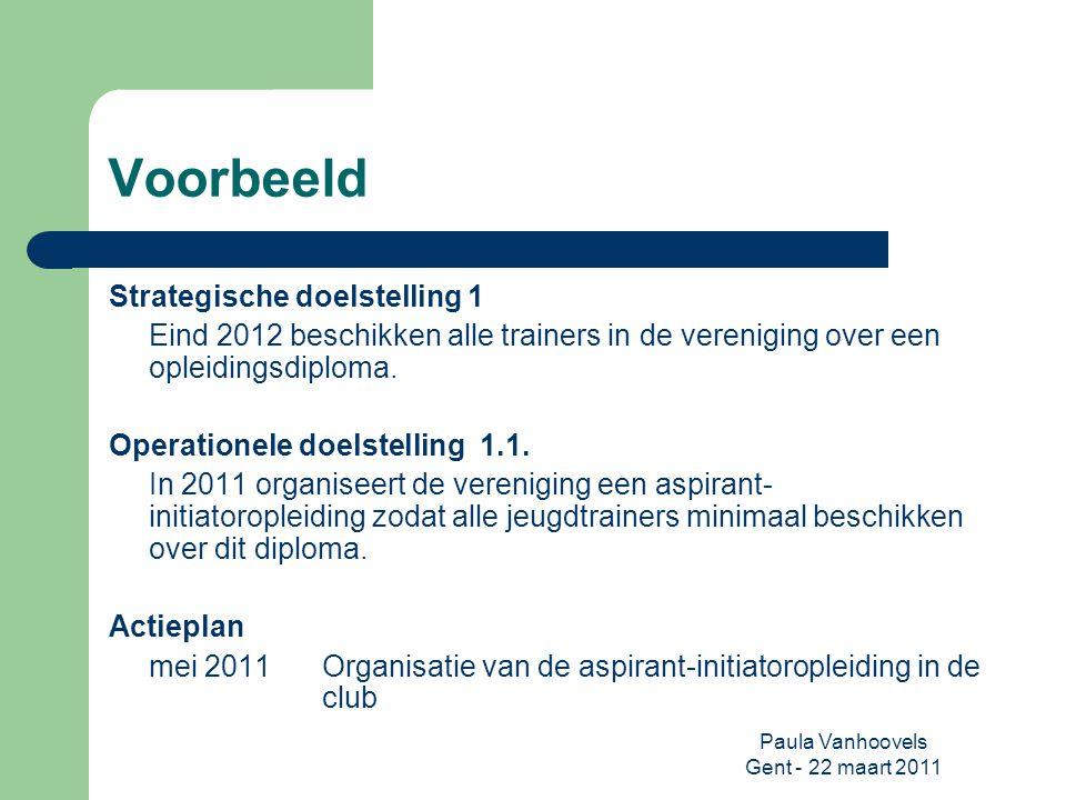 Paula Vanhoovels Gent - 22 maart 2011 Voorbeeld Strategische doelstelling 1 Eind 2012 beschikken alle trainers in de vereniging over een opleidingsdip
