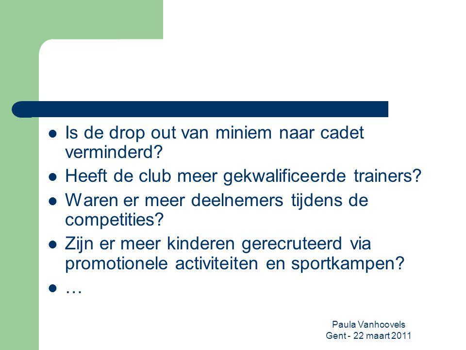 Paula Vanhoovels Gent - 22 maart 2011 Is de drop out van miniem naar cadet verminderd? Heeft de club meer gekwalificeerde trainers? Waren er meer deel