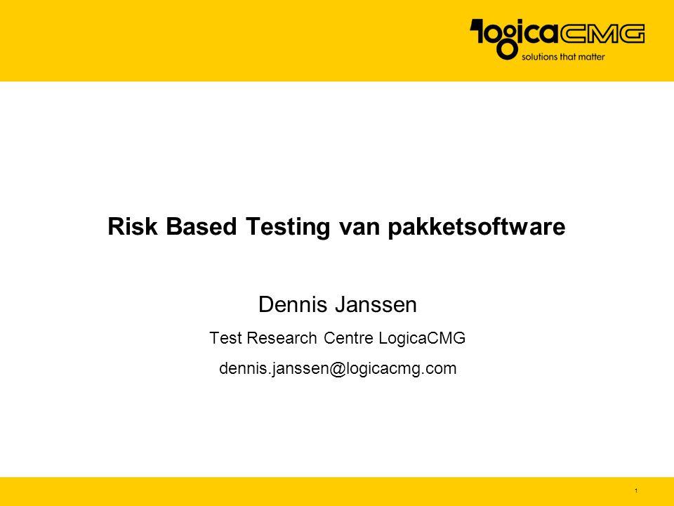 2 Agenda Kenmerken pakket Risico's pakket implementatie Risk & Requirement Based Testing (RRBT) Teststrategie pakkettesten PRICES model Samenvatting