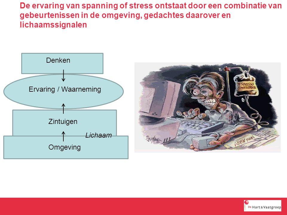 De ervaring van spanning of stress ontstaat door een combinatie van gebeurtenissen in de omgeving, gedachtes daarover en lichaamssignalen Omgeving Zintuigen Denken Ervaring / Waarneming Lichaam