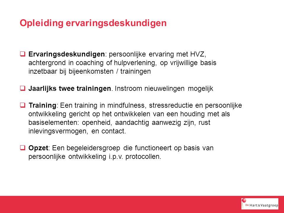 Opleiding ervaringsdeskundigen  Ervaringsdeskundigen: persoonlijke ervaring met HVZ, achtergrond in coaching of hulpverlening, op vrijwillige basis inzetbaar bij bijeenkomsten / trainingen  Jaarlijks twee trainingen.
