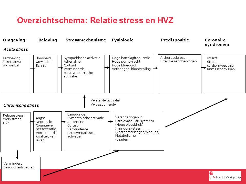 Stress is een oorzaak voor de graduele ontwikkeling, en een trigger, voor HVZ  HVZ als oorzaak voor stress; Toenemend risicio op HVZ bij HVZ-patienten met stress Verminderde kwaliteit van leven bij HVZ-patienten met stress Conclusie: er is een relatie tussen stress en HVZ