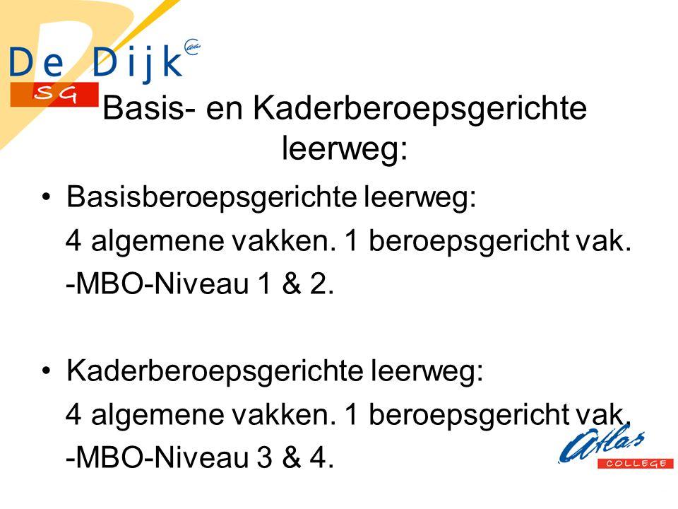Basis- en Kaderberoepsgerichte leerweg: Basisberoepsgerichte leerweg: 4 algemene vakken. 1 beroepsgericht vak. -MBO-Niveau 1 & 2. Kaderberoepsgerichte