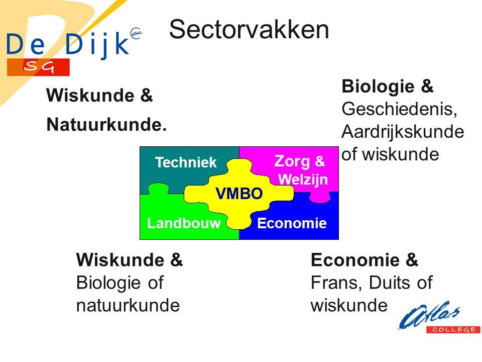 Sectorvakken Wiskunde & Natuurkunde. VMBO Techniek Landbouw Zorg & Welzijn Economie Wiskunde & Biologie of natuurkunde Biologie & Geschiedenis, Aardri