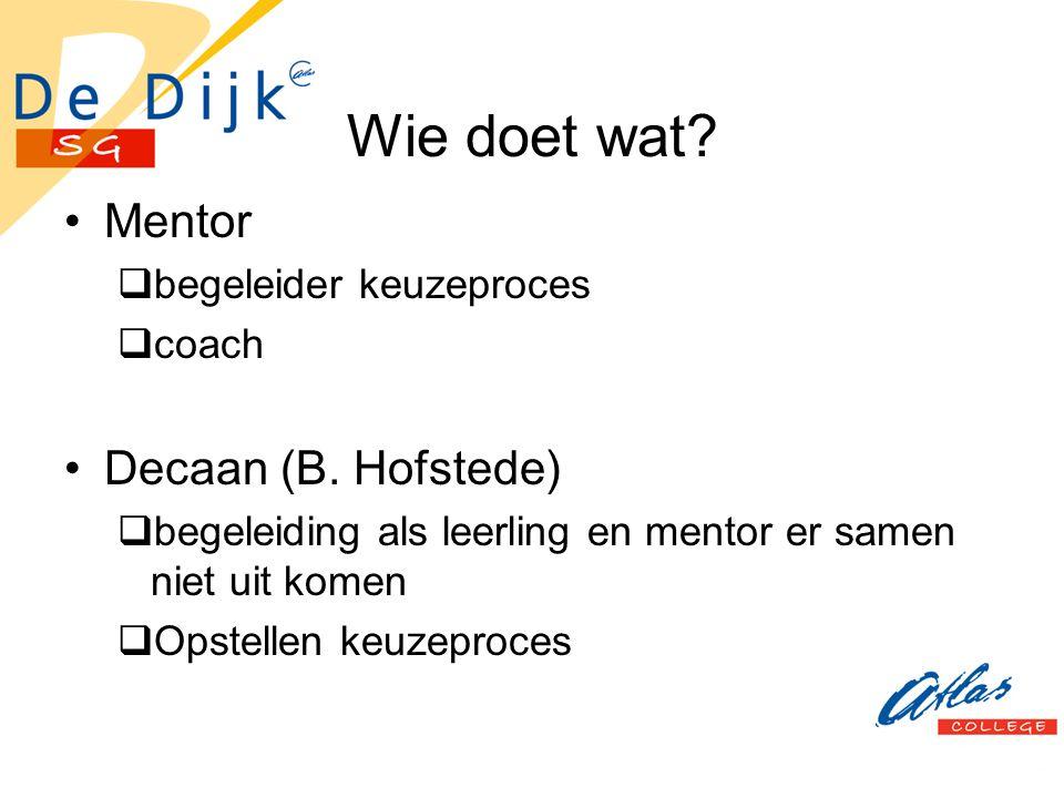 Wie doet wat? Mentor  begeleider keuzeproces  coach Decaan (B. Hofstede)  begeleiding als leerling en mentor er samen niet uit komen  Opstellen ke