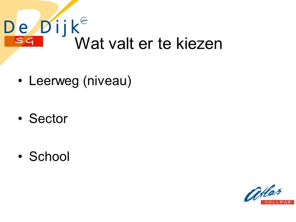 Wat valt er te kiezen Leerweg (niveau) Sector School