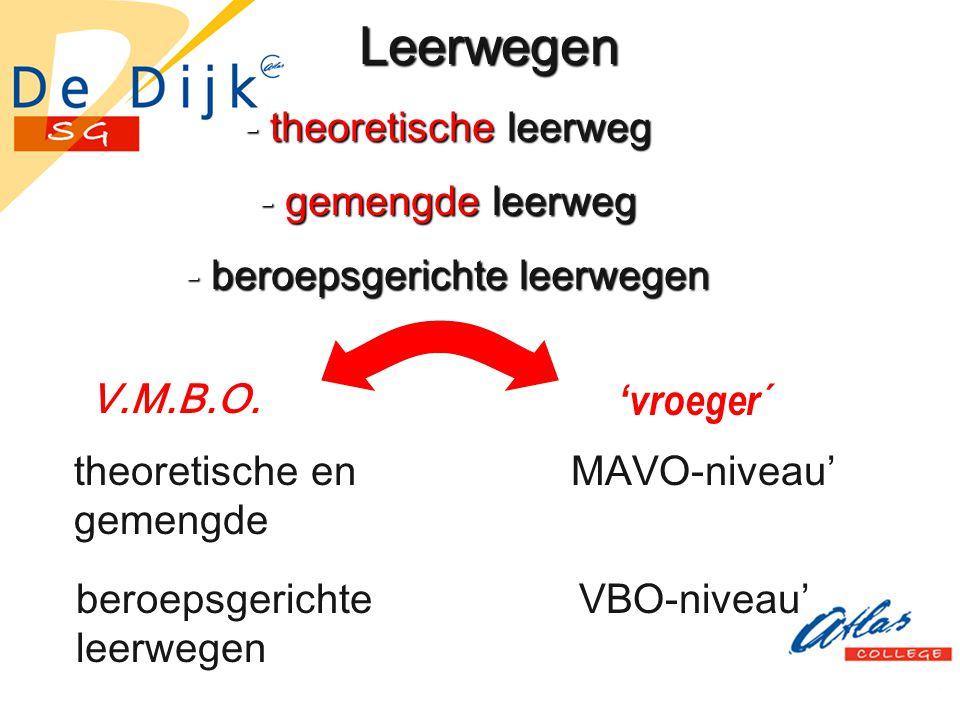 Leerwegen - theoretische leerweg - gemengde leerweg - beroepsgerichte leerwegen V.M.B.O. 'vroeger´ theoretische en gemengde leerweg beroepsgerichte le