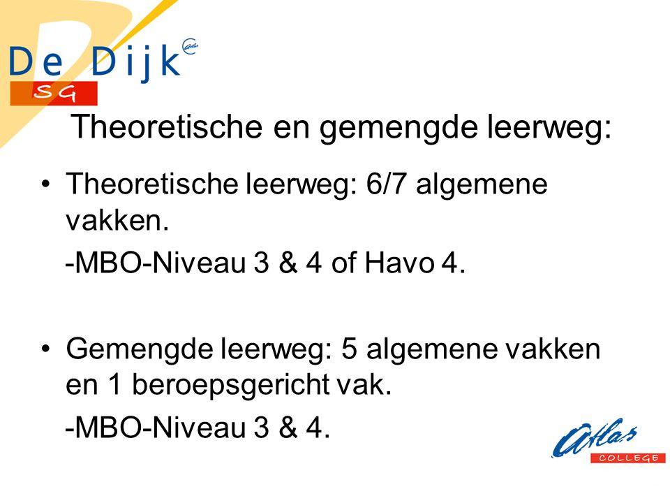 Theoretische en gemengde leerweg: Theoretische leerweg: 6/7 algemene vakken. -MBO-Niveau 3 & 4 of Havo 4. Gemengde leerweg: 5 algemene vakken en 1 ber