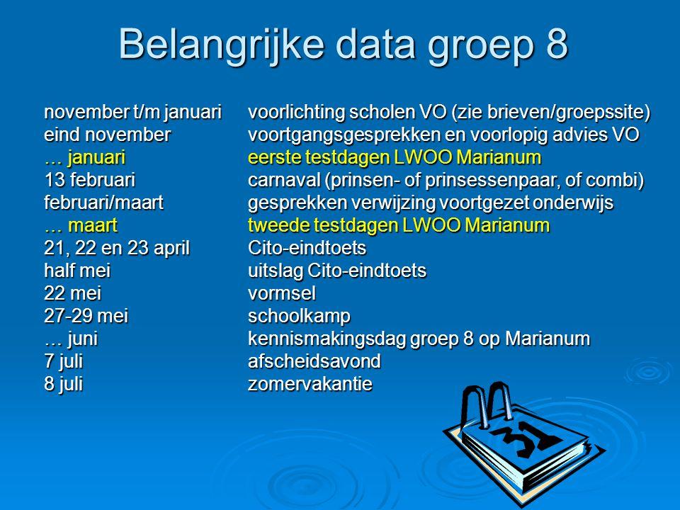 Belangrijke data groep 8 november t/m januarivoorlichting scholen VO (zie brieven/groepssite) eind novembervoortgangsgesprekken en voorlopig advies VO