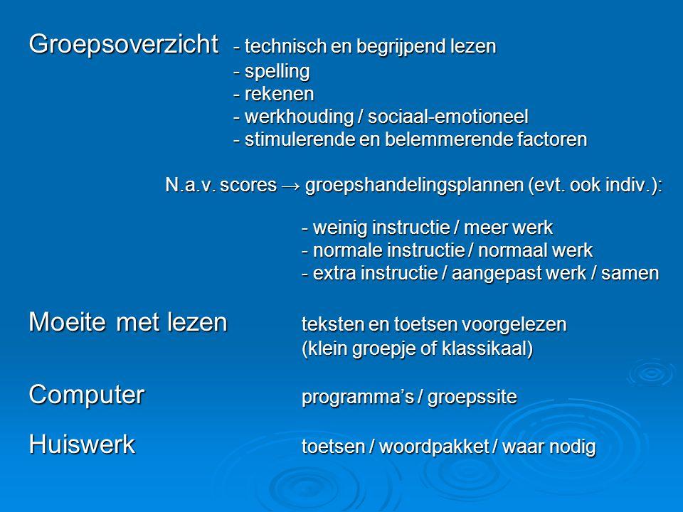 Groepsoverzicht - technisch en begrijpend lezen - spelling - rekenen - werkhouding / sociaal-emotioneel - stimulerende en belemmerende factoren N.a.v.